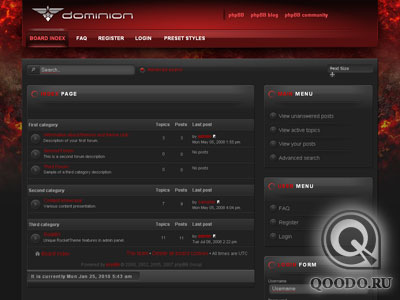 RT Dominion phpBB3 (Февраль '2010) шаблон для Joomla