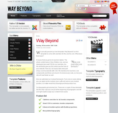YOOtheme Way Beyond - Шаблон для Joomla 1.5