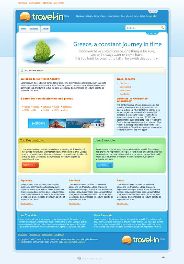 Joomla шаблон BonusThemes Travel in