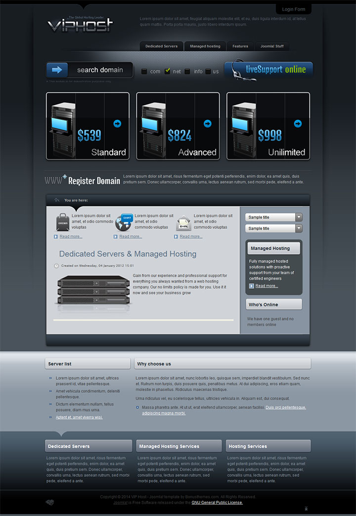 Joomla шаблон BonusThemes VIP Host